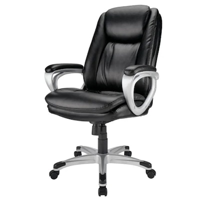 """Realspace """"Treswell"""" Black Bonded Leather High-Back Executive Chair"""