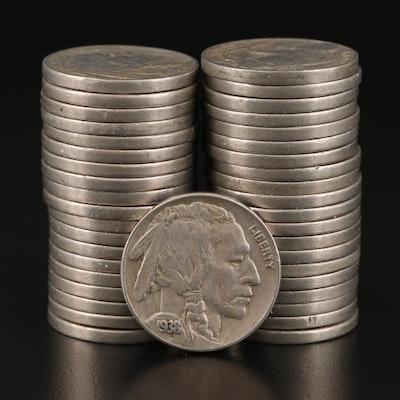 Roll of 1938-D Buffalo Nickels