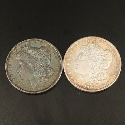 Toned 1902 and 1904-O Morgan Silver Dollar