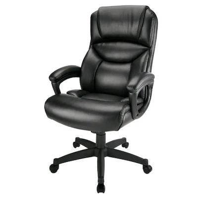 "Realspace ""Fennington"" Black Bonded Leather High-Back Executive Chair"