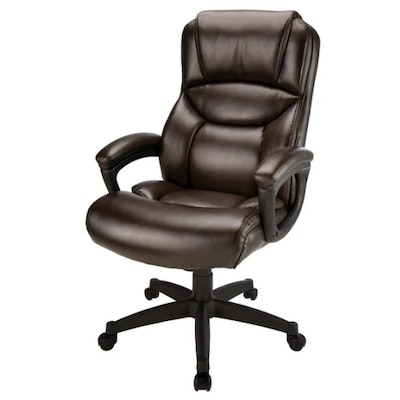 "Realspace ""Fennington"" Brown Bonded Leather High-Back Executive Chair"