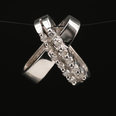 14K Diamond X Slide Pendant