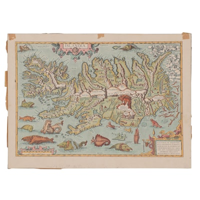 "Offset Lithograph Map after Abraham Ortelius ""Islandia,"" Late 20th Century"