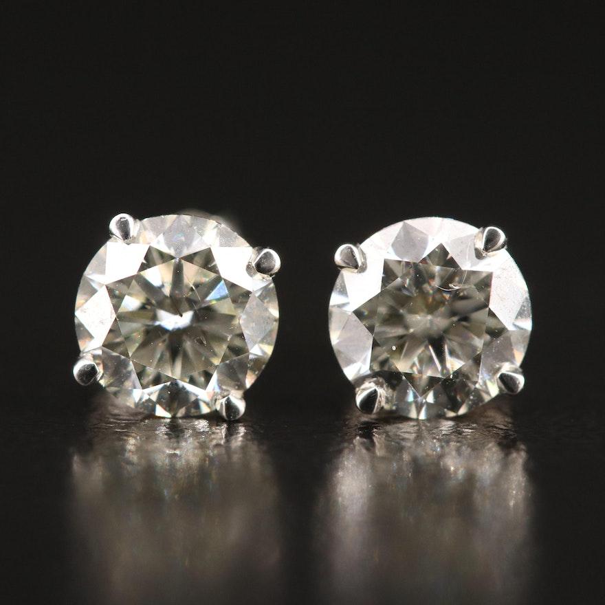 18K 1.43 CTW Diamond Stud Earrings with GIA Online Report