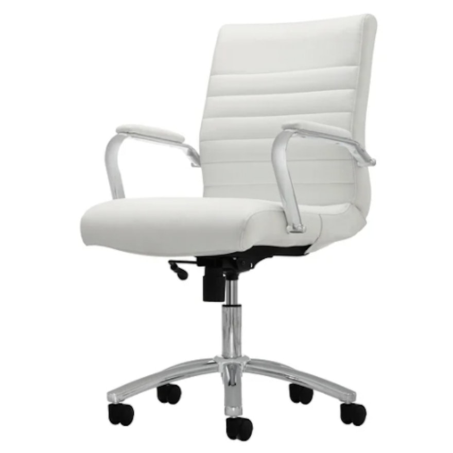 """Realspace """"Winsley"""" Modern White Bonded Leather Mid-Back Manager's Chair"""
