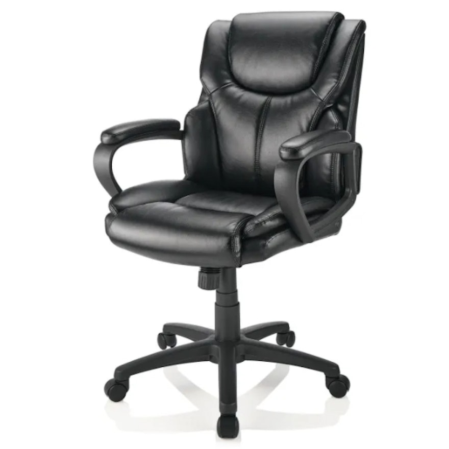 """Brenton Studio """"Mayhart"""" Black Faux Leather Mid-Back Chair"""