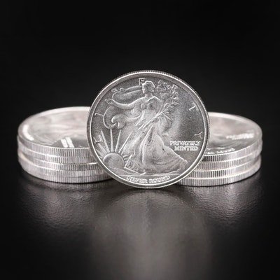 Ten Walking Liberty 1/10th Troy Oz. Fine Silver Rounds by Money Metal Exchange
