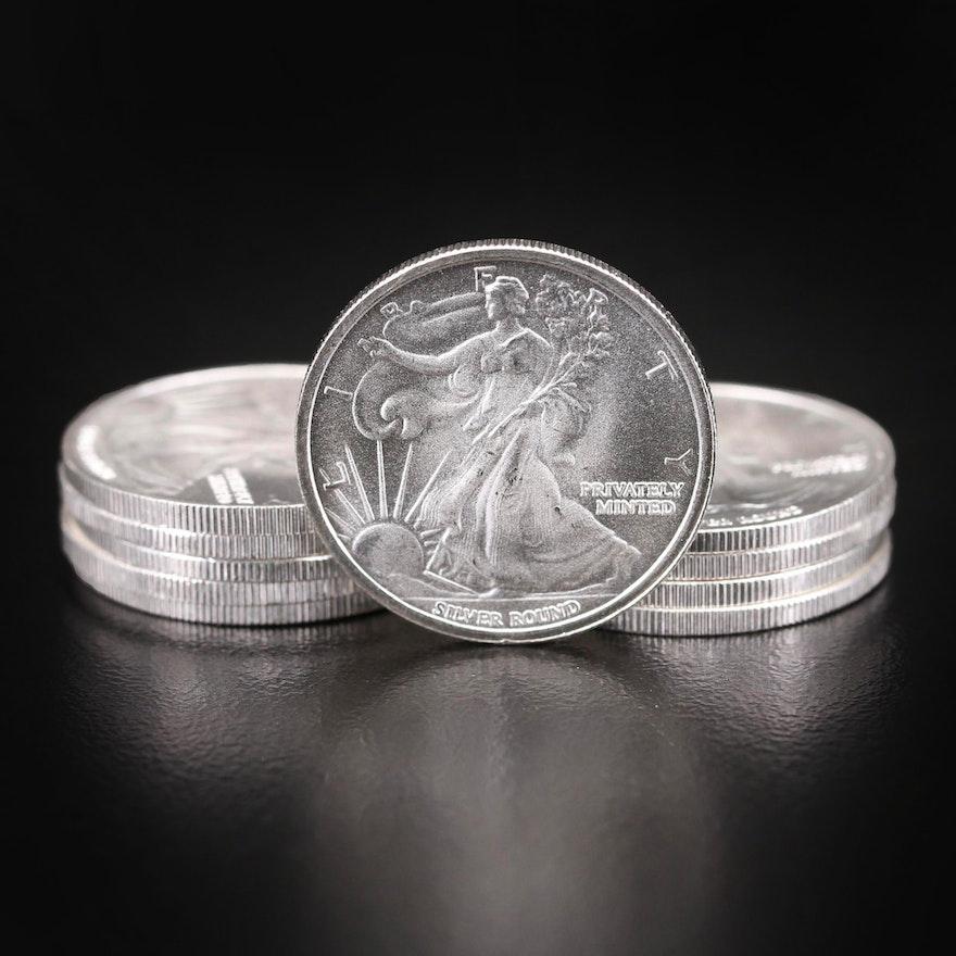 Ten Walking Liberty 1/10th Troy Oz. Fine Silver Rounds by Money Metal Exchange
