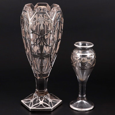 Art Nouveau Style Glass Vases with Sterling Silver Overlay