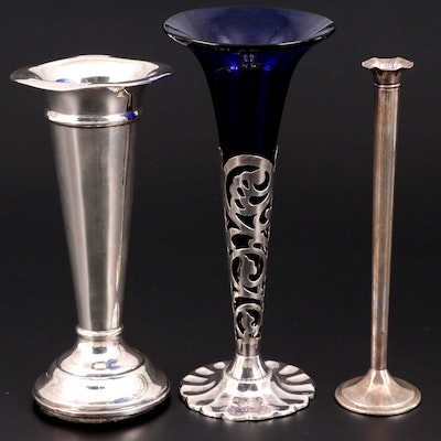 Webster and Other Sterling Silver Bud Vases with Silver Plate Vase