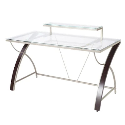 """Realspace """"Axley"""" Modern Style Metal Framed Computer Desk with Glass Top"""