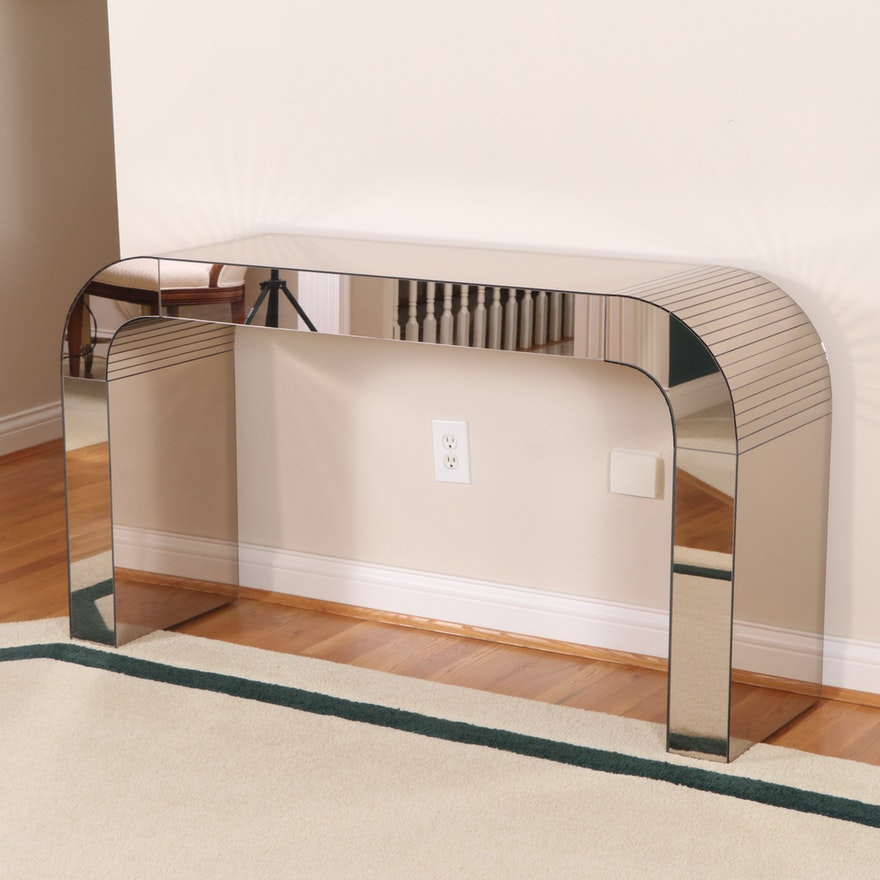"""Modernist Mirrored Glass """"Waterfall"""" Console Table, Late 20th Century"""
