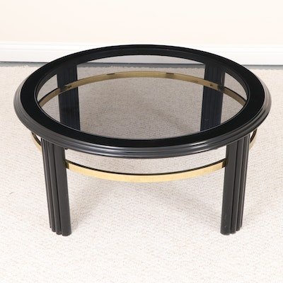 Modernist Black Lacquered, Brass-Mounted, and Glass Top Coffee Table