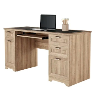 """Realspace """"Magellan"""" Blonde Ash Laminate Managers Desk with Faux Leather Inlay"""