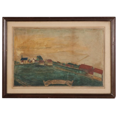 German Folk Art Watercolor Painting of Country Landscape, 1881