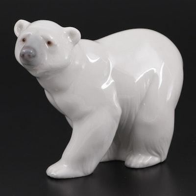 "Lladró ""Attentive Polar Bear"" Porcelain Figurine Designed by Juan Huerta"
