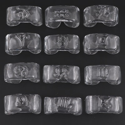 Roberto Niederer Handcrafted Zodiac Glass Napkin Holders, Mid-20th Century
