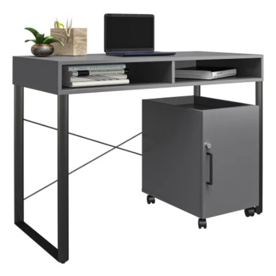 "Brenton Studio ""Bexler"" Grey Laminate Desk with Metal Base and Mobile Cart"