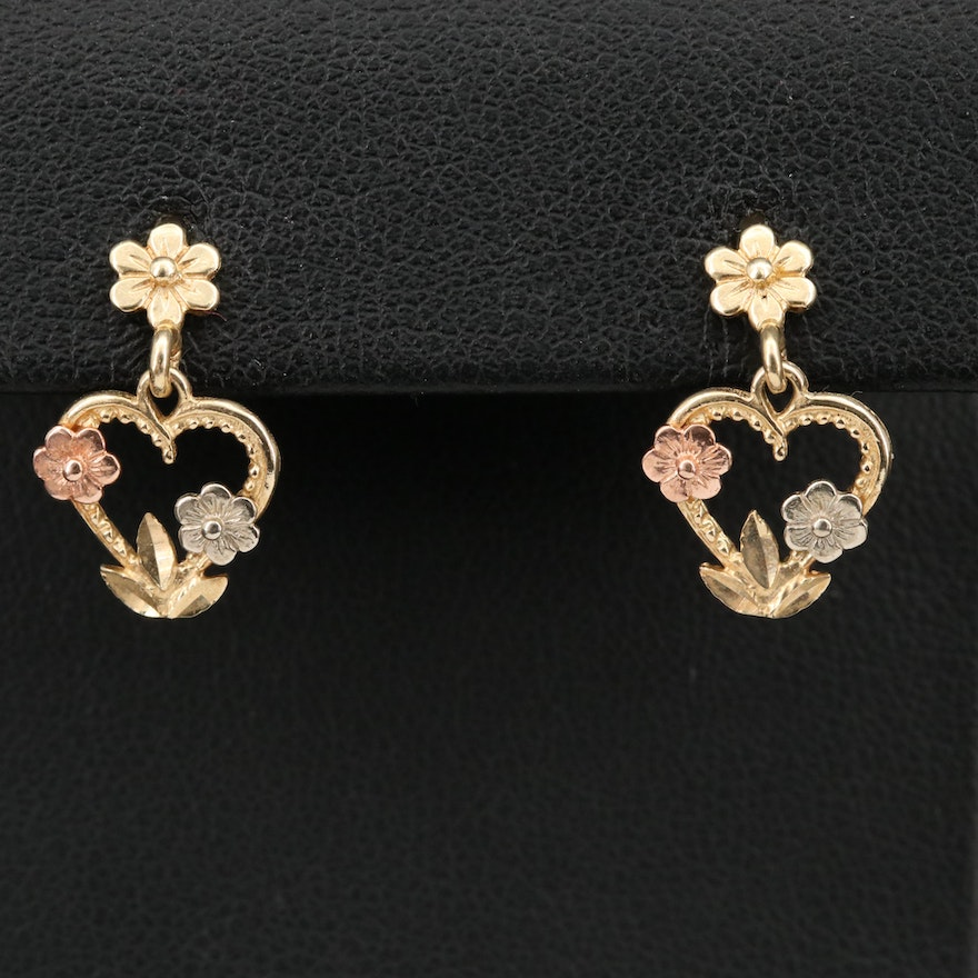 14K Tri-Color Gold Heart and Flowers Earrings