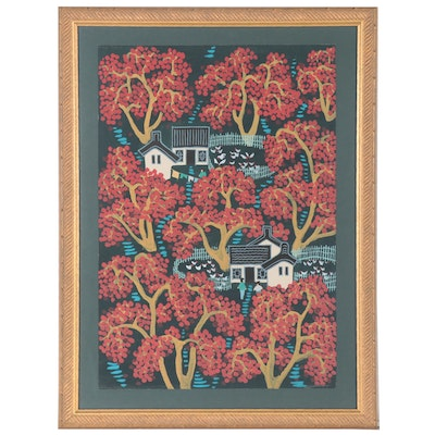 East Asian Folk Art Style Giclée of Small Village, Late 20th Century