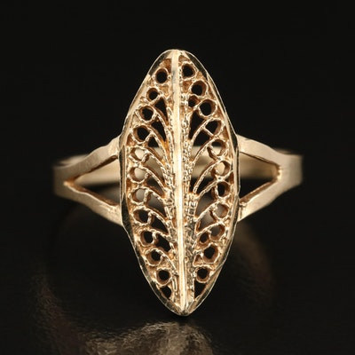 14K Navette Filigree Ring