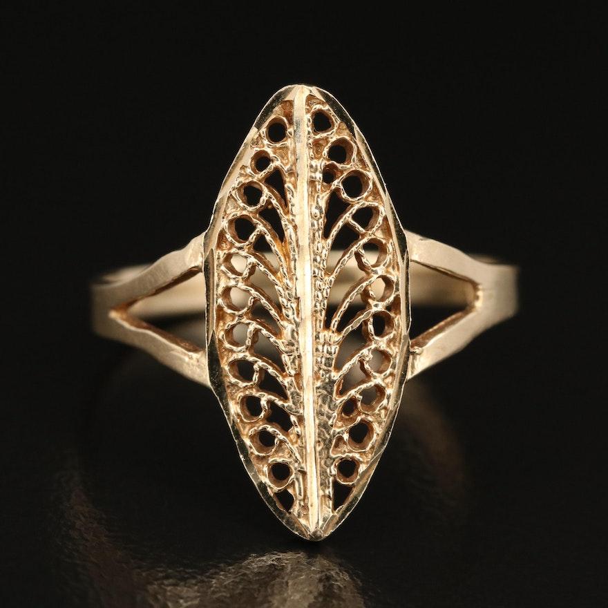 14K Navette Filigree Ring