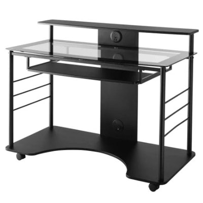 Realspace Black Metal Mobile Tech Desk with Glass Work Surface