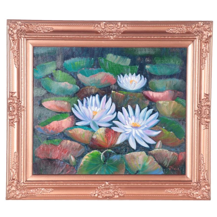 """Thea Mamukelashvili Oil Painting """"Water Lillies,"""" 2021"""