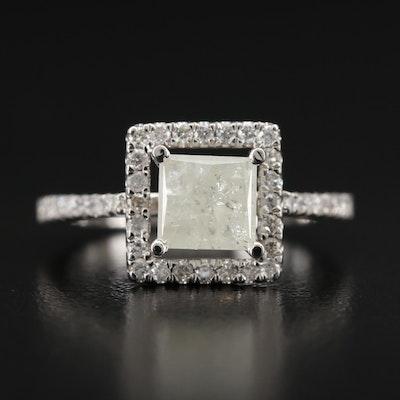 14K 1.95 CTW Diamond Ring with Princess Cut Center