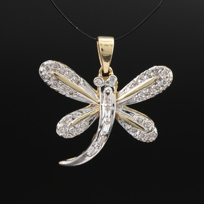 14K Diamond Dragonfly Pendant