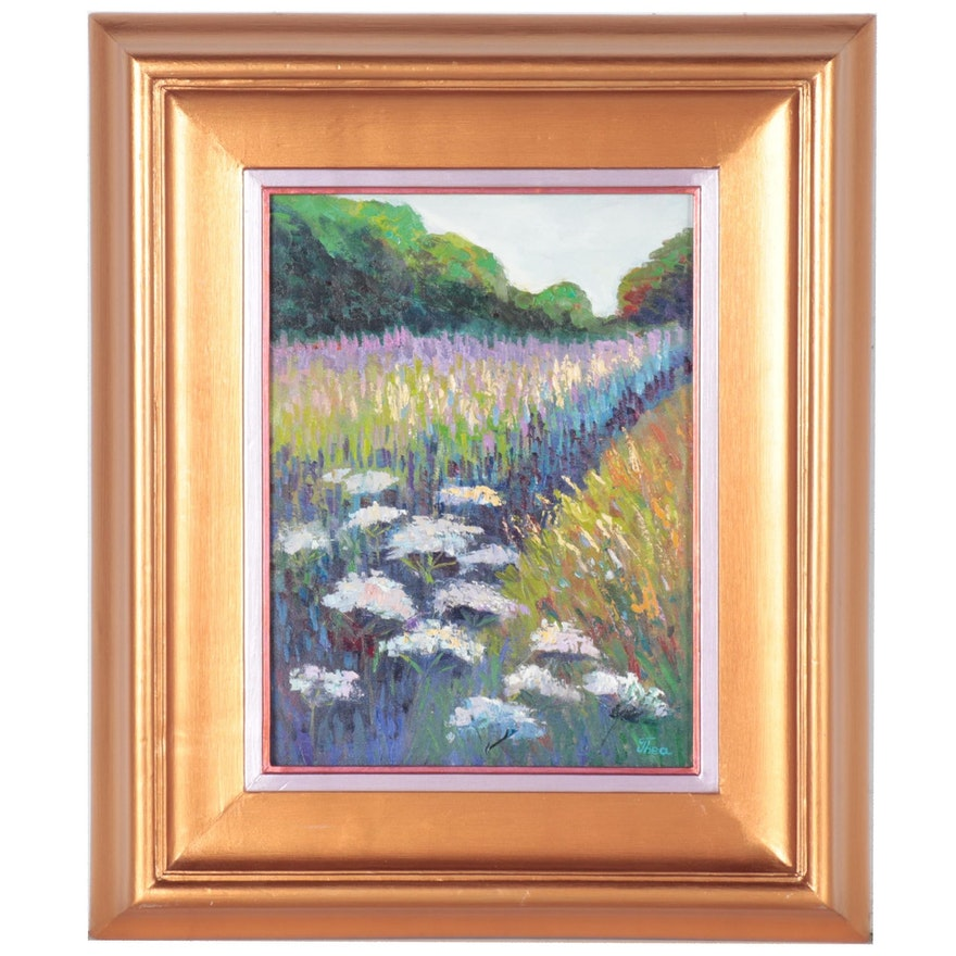 "Thea Mamukelashvili Oil Painting ""Summer Field,"" 2021"