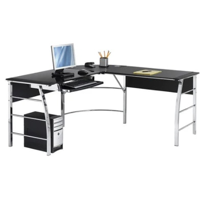 "Realspace ""Mezza"" Metal L-Shaped Desk With Glass Top and Black Laminate Trim"