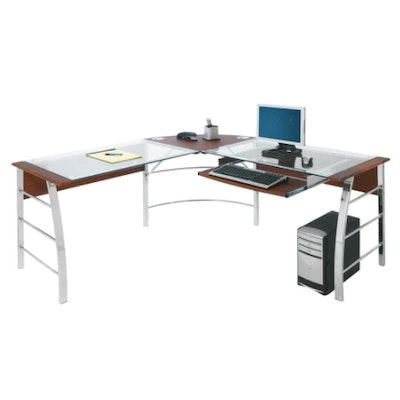 """Realspace """"Mezza"""" Metal L-Shaped Desk With Glass Top and Cherry Laminate Trim"""