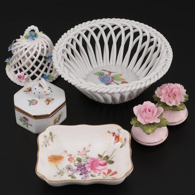 "Herend ""Queen Victoria"" Openwork Basket with Other Porcelain Table Accessories"