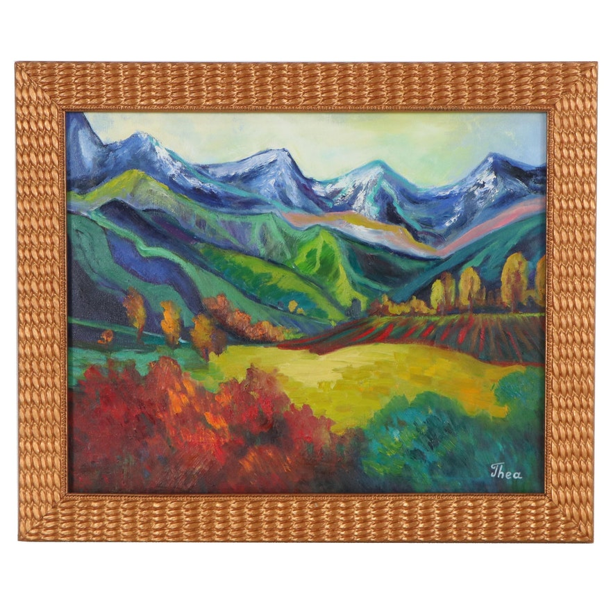 "Thea Mamukelashvili Oil Painting ""Mountainscape,"" 2021"