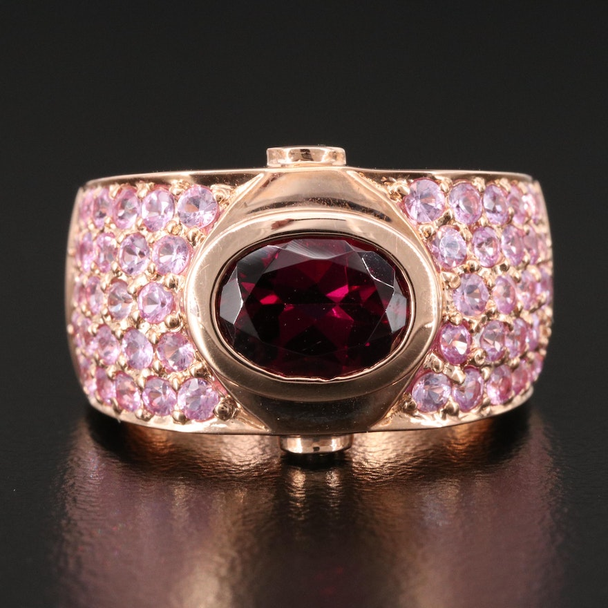 14K Bezel Set Garnet Ring with Pavé Pink Sapphire Shoulders and Diamond Accents