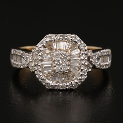 14K Diamond Ring with Crossover Shoulders