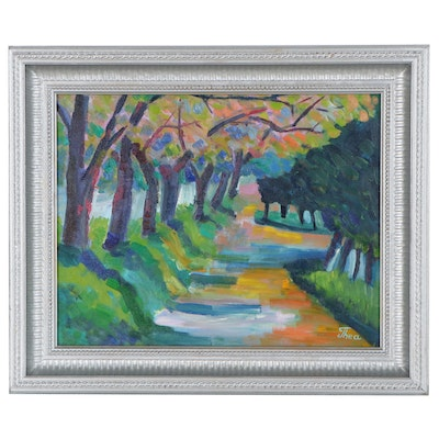 "Thea Mamukelashvili Landscape Oil Painting ""Nature Trail,"" 2021"