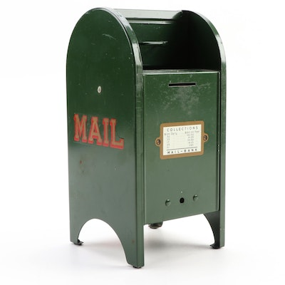 All American US Mail Box Still Bank in Period Green Paint, Mid-20th Century