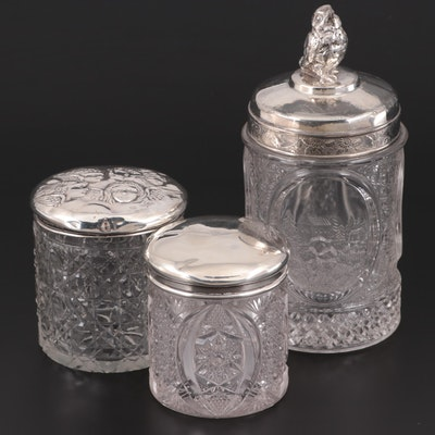 English Sterling Silver and Silver Plate Lidded Glass Vanity Jars, Early 20th C.