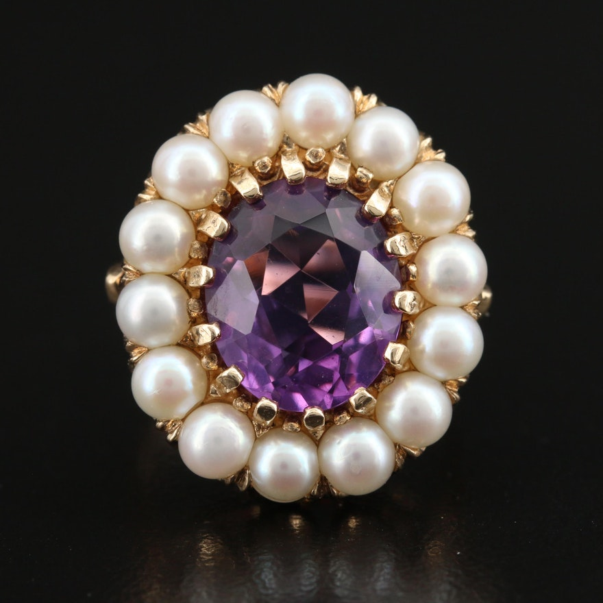 10K Amethyst and Pearl Halo Ring