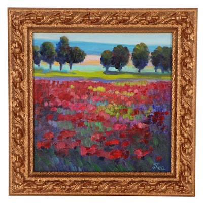 "Thea Mamukelashvili Oil Painting ""Poppy Field,"" 2021"