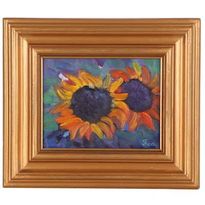 "Thea Mamukelashvili Oil Painting ""Sunflowers,"" 2021"