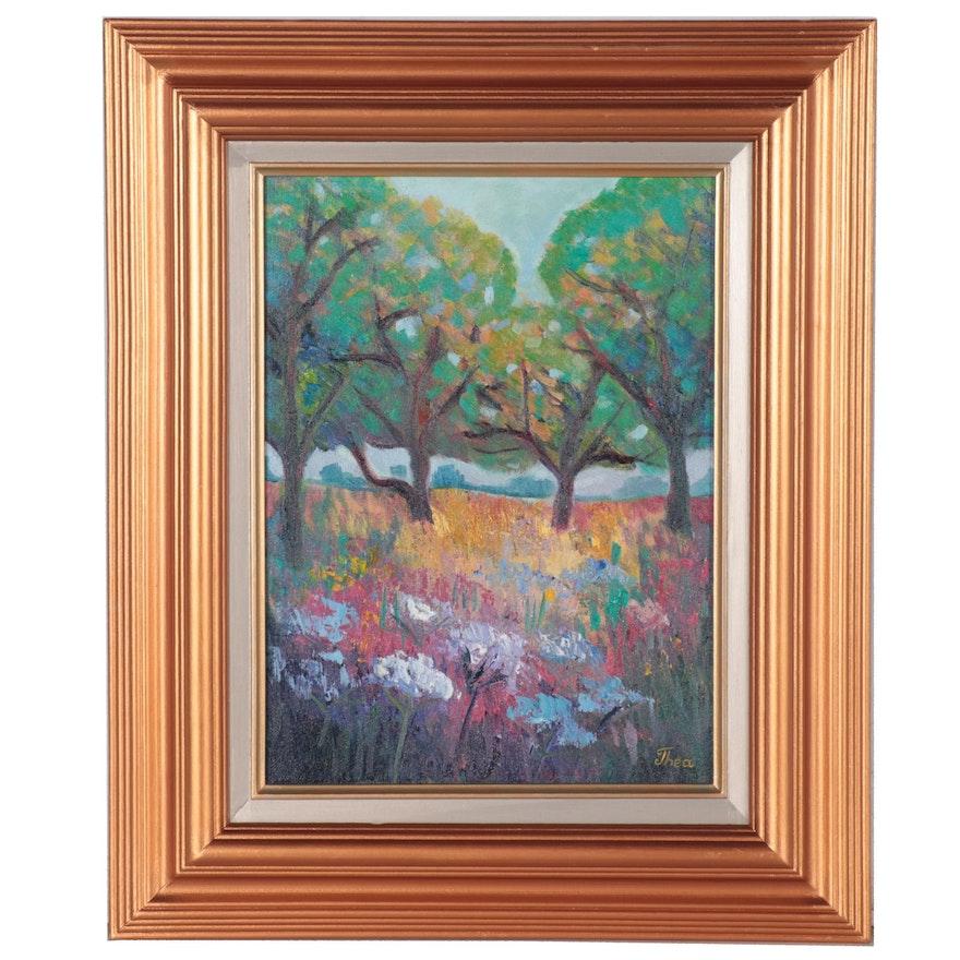 "Thea Mamukelashvili Oil Painting ""Flower Field,"" 2021"