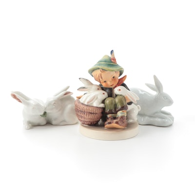 "Goebel ""Playmates"" Hummel Figurine with Other Porcelain Rabbit Figurines"