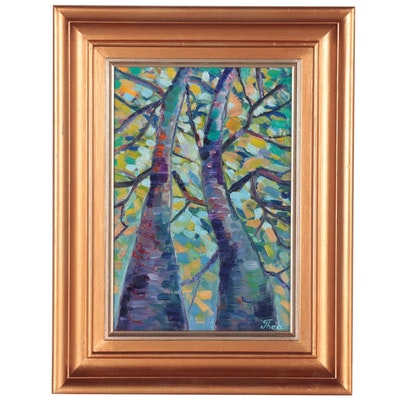 "Thea Mamukelashvili Oil Painting ""Trees,"" 2021"