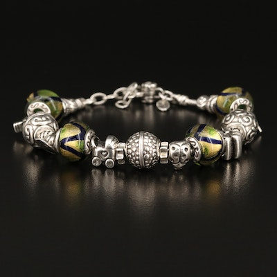 Sterling Charm Bracelet with Ladybug, Train and Art Glass Charms