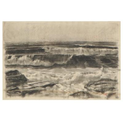 Edmond James Fitzgerald Seascape Drawing, Mid-20th Century