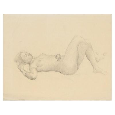Edmond James Fitzgerald Female Nude Graphite Drawing