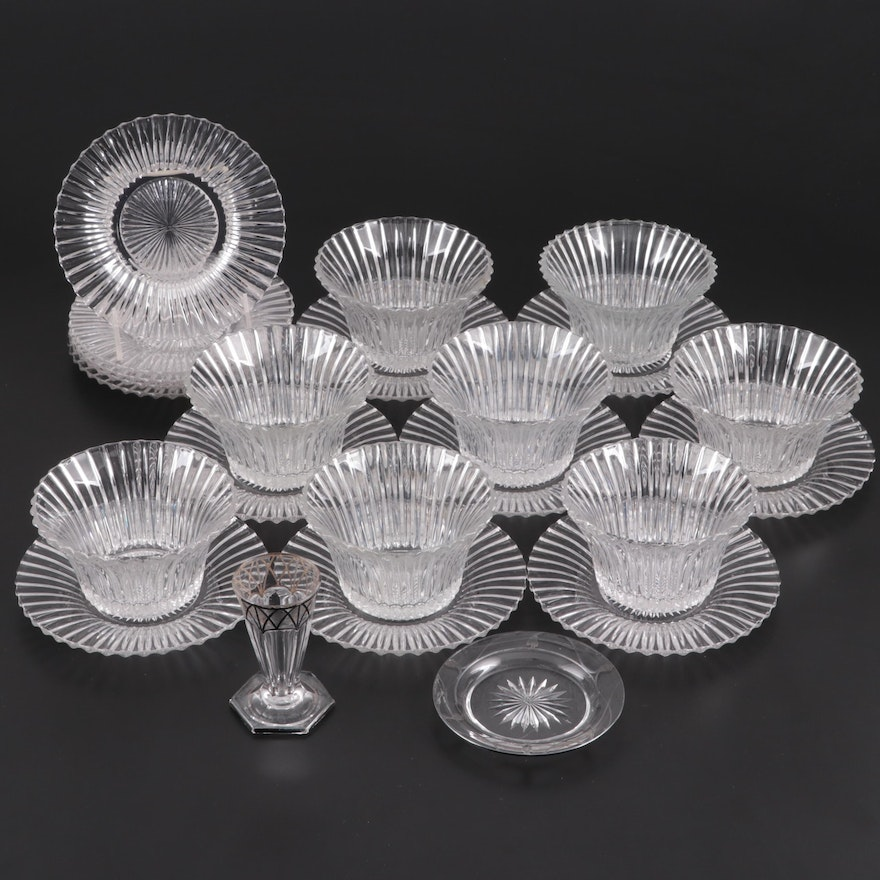 """Heisey """"Ridgeleigh"""" Pressed Glass Mayonnaise Bowls, Underplates, and More"""